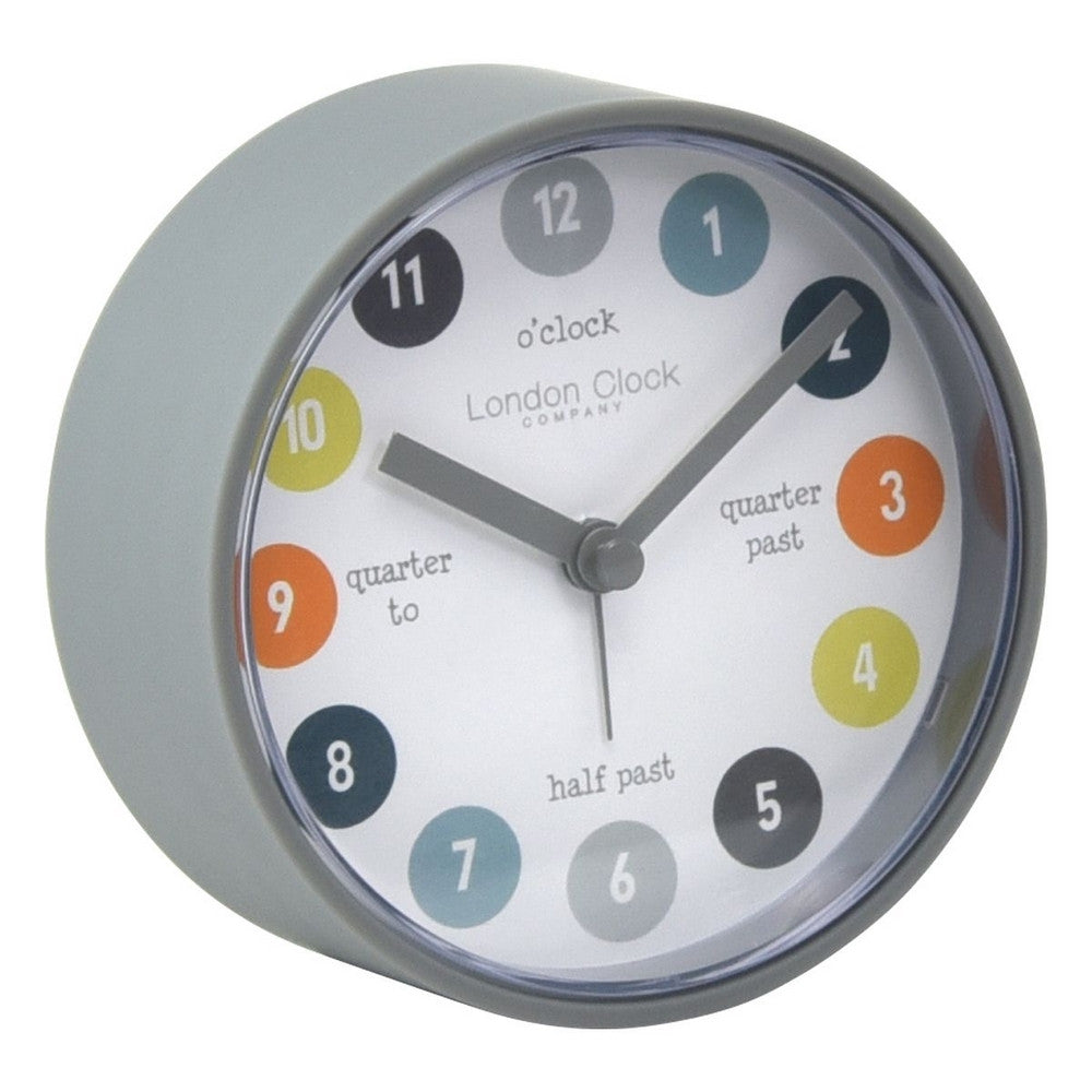 London Clock Co 9 cm Kids Tell The Time Alarm Clock Grey