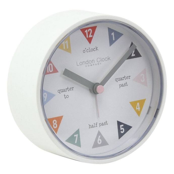 London Clock Co 9 cm Kids Tell The Time Alarm Clock White