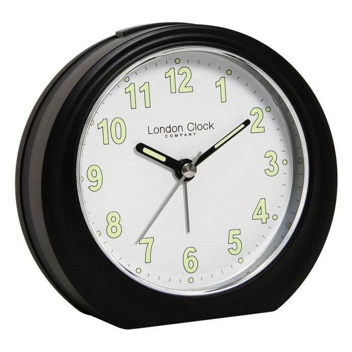 London Clock Co 11 cm Black Analogue Alarm Clock With Luminous Numerals