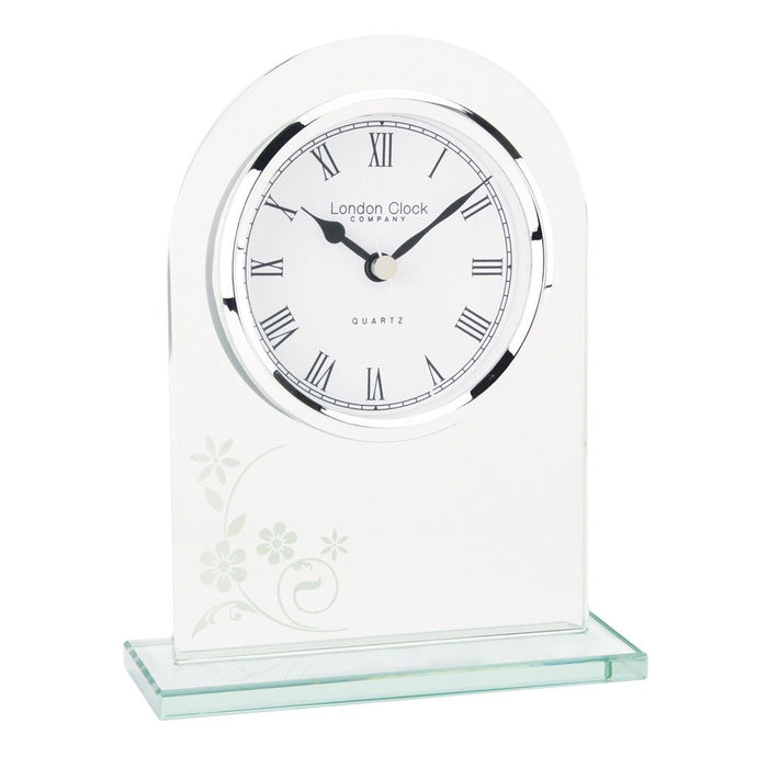 London Clock Co 16cm Glass  Arch Top Mantel Clock