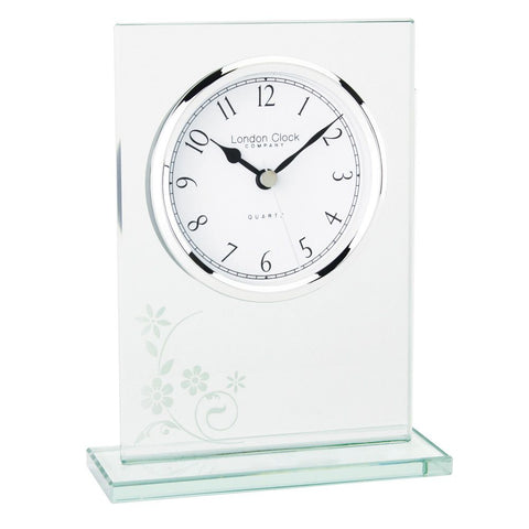 London Clock Co 16cm Glass  Flat Top Mantel Clock