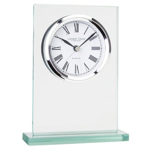 London Clock Co 14cm Flat Top Glass Mantel Clock