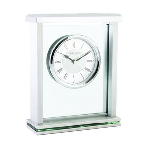 London Clock Co 21cm Silver Flat Top Mantel Clock