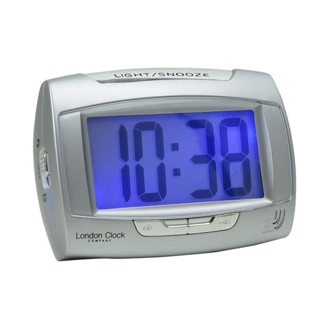 London Clock Co 8 cm Rectangle Silver Digital Alarm Clock