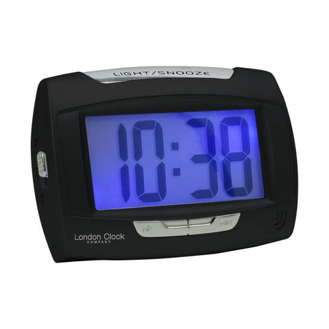 London Clock Co 8 cm Rectangle Black Digital Alarm Clock