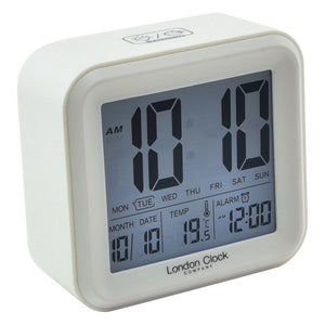 London Clock Co 9 cm White Square LCD Alarm Clock