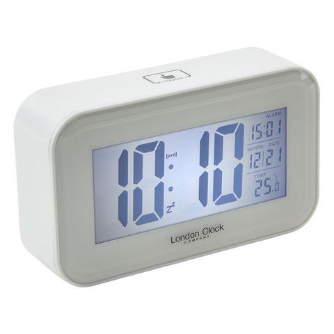 London Clock Co 11 cm White Rectangular LCD Alarm Clock