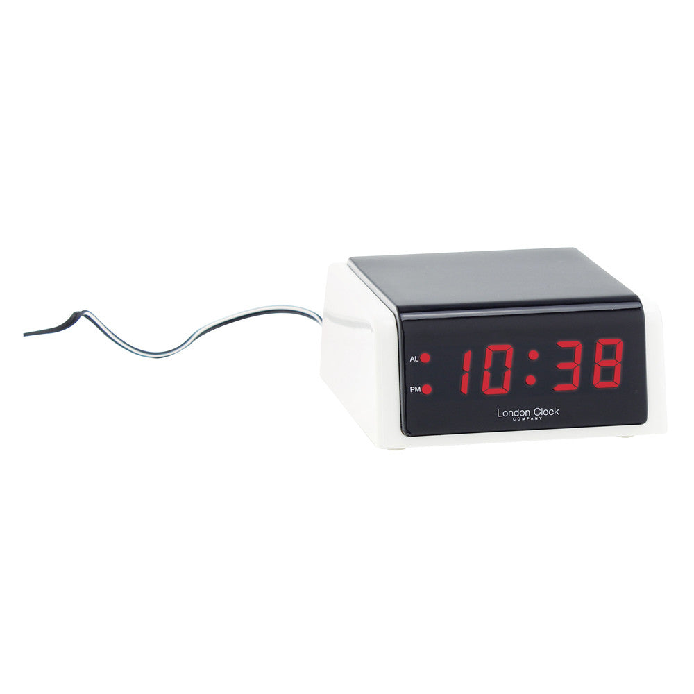 London Clock Co White/Black Case LED Alarm Clock
