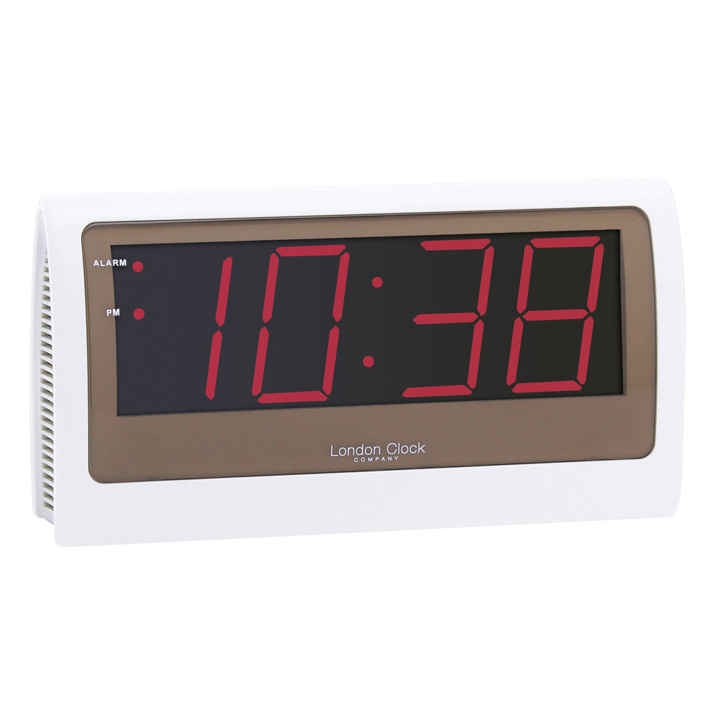 London Clock Co Large White Case and Red Display Alarm Clock