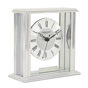 London Clock Co 16cm Silver Flat Top Mantel Clock