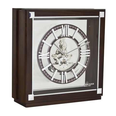 London Clock Co 24cm Flat Top Skeleton Mantel Clock