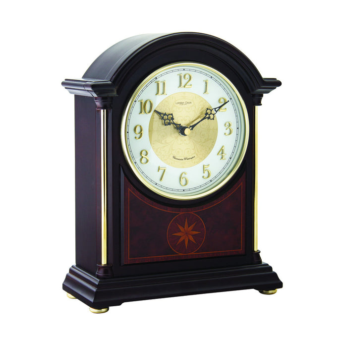 London Clock Co 29cm Dark Wood Break Arch Mantel Clock