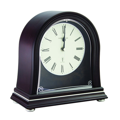 London Clock Co 22cm Dark Wood Radio Controlled Mantel Clock