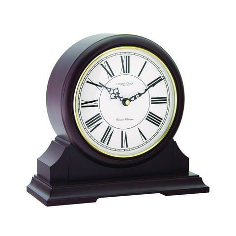 London Clock Co 28cm Dark Wood Round Top Mantel Clock