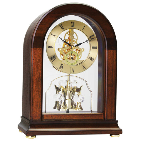 London Clock Co 26cm Dark Wood Arch Solid Wood Skeleton Mantel Clock
