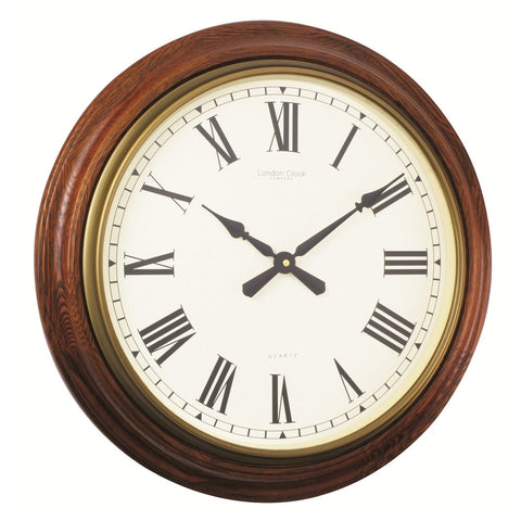 London Clock Co 54cm Large Antiqued Oak Finish Wall Clock