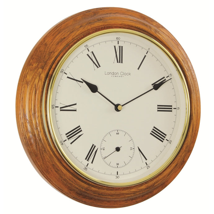 London Clock Co 32cm Oak Finish Traditional Wall Clock