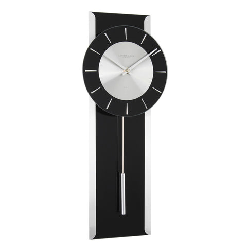 London Clock Co 5cm Black Contemporary Pendulum Wall Clock