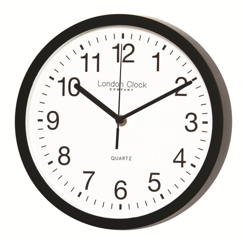 London Clock Co Black Wall Clock with Sweeping Hands