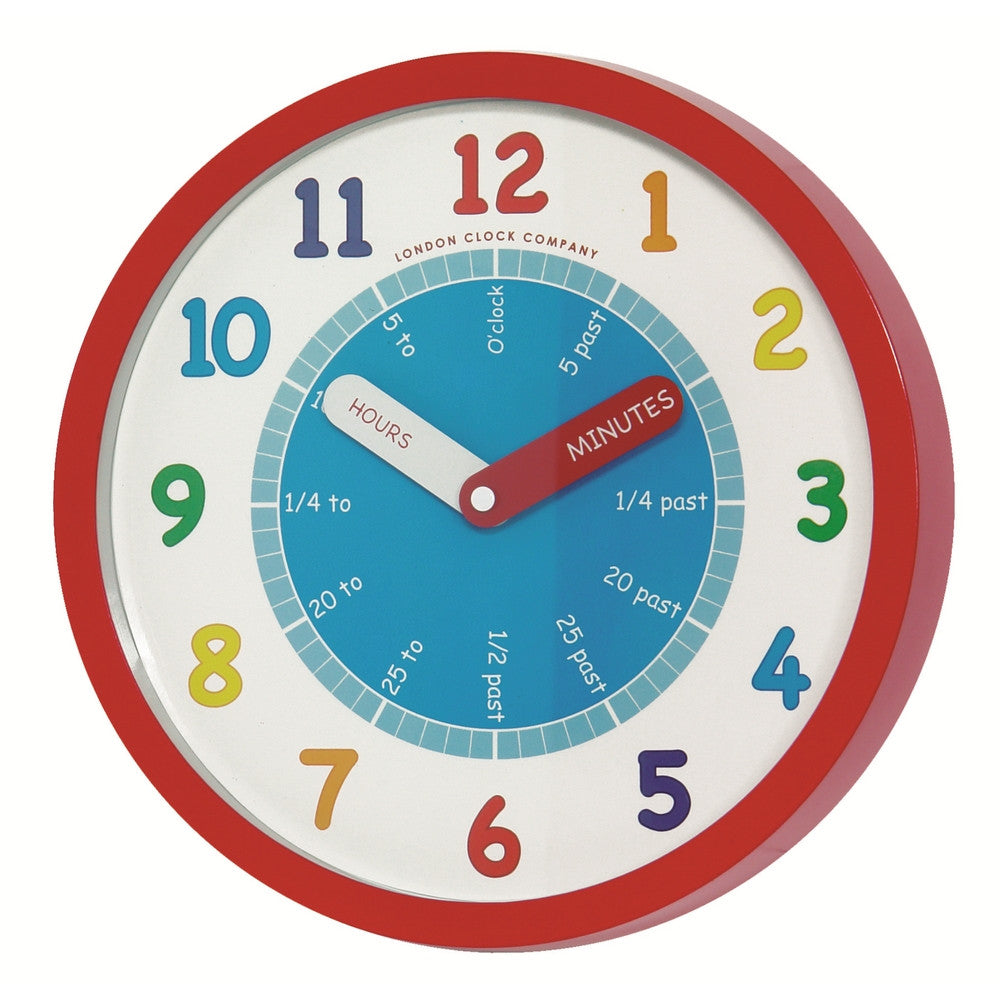 London Clock Co Children's Learning Red Wall Clock