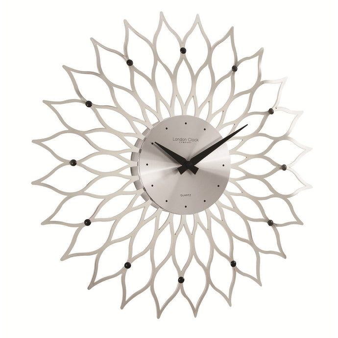 London Clock Co 38cm Silver High Gloss Modern Wall Clock