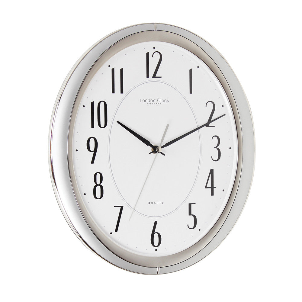 London Clock Co 33cm Silver Wall Clock with Silent Sweep Movement