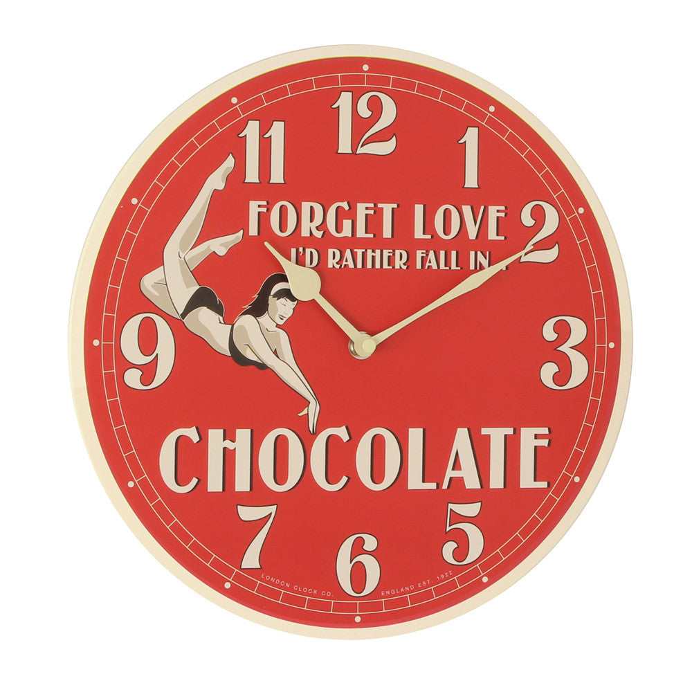 London Clock Co 3cm Retro Chocolate Red Wall Clock