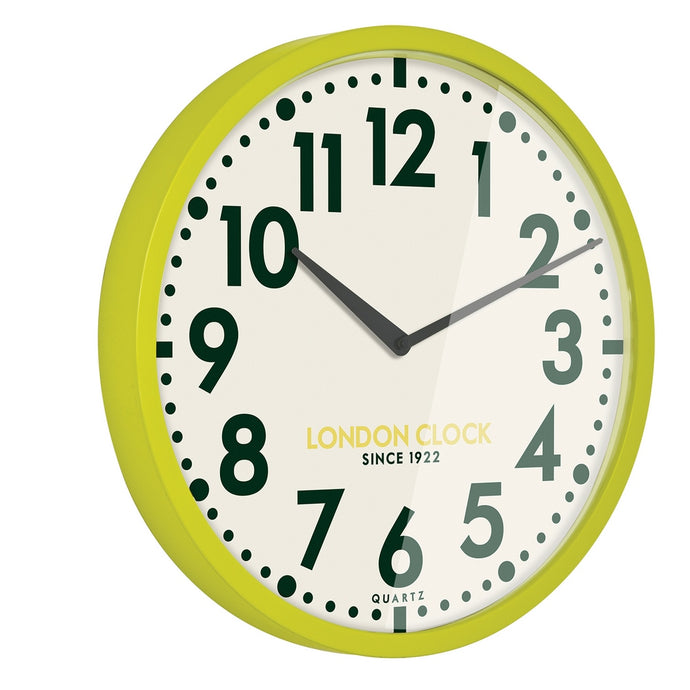 London Clock 1922 50cm Retro Limelight Lime Green Wall Clock