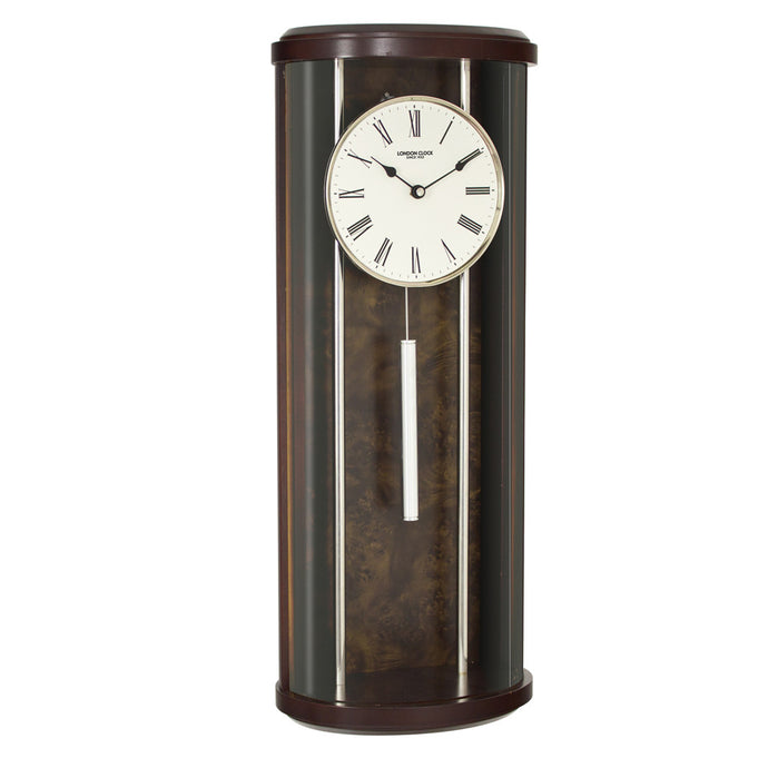 London Clock Co 65cm Dark Wood Rounded Pendulum Solid Wood Wall Clock