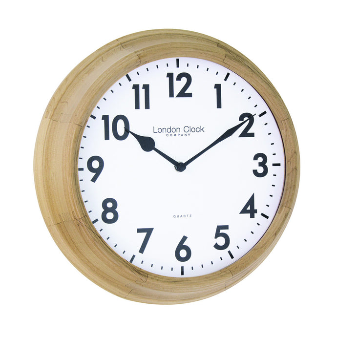 London Clock Co 26cm Light Wood Traditional Wall Clock