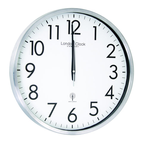 London Clock Co 42cm Silver Radio Controlled Wall Clock
