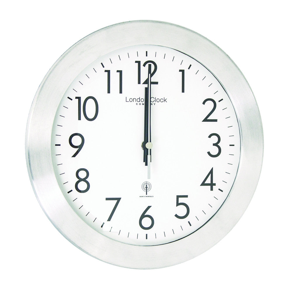 London Clock Co 26cm Silver Radio Controlled Wall Clock