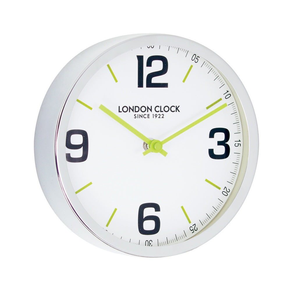 London Clock 1922  London Pop Zest Small Chrome Metal Case Wall Clock