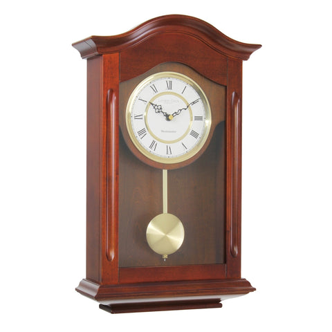London Clock Co 47cm Traditional Walnut Wood Pendulum Wall Clock