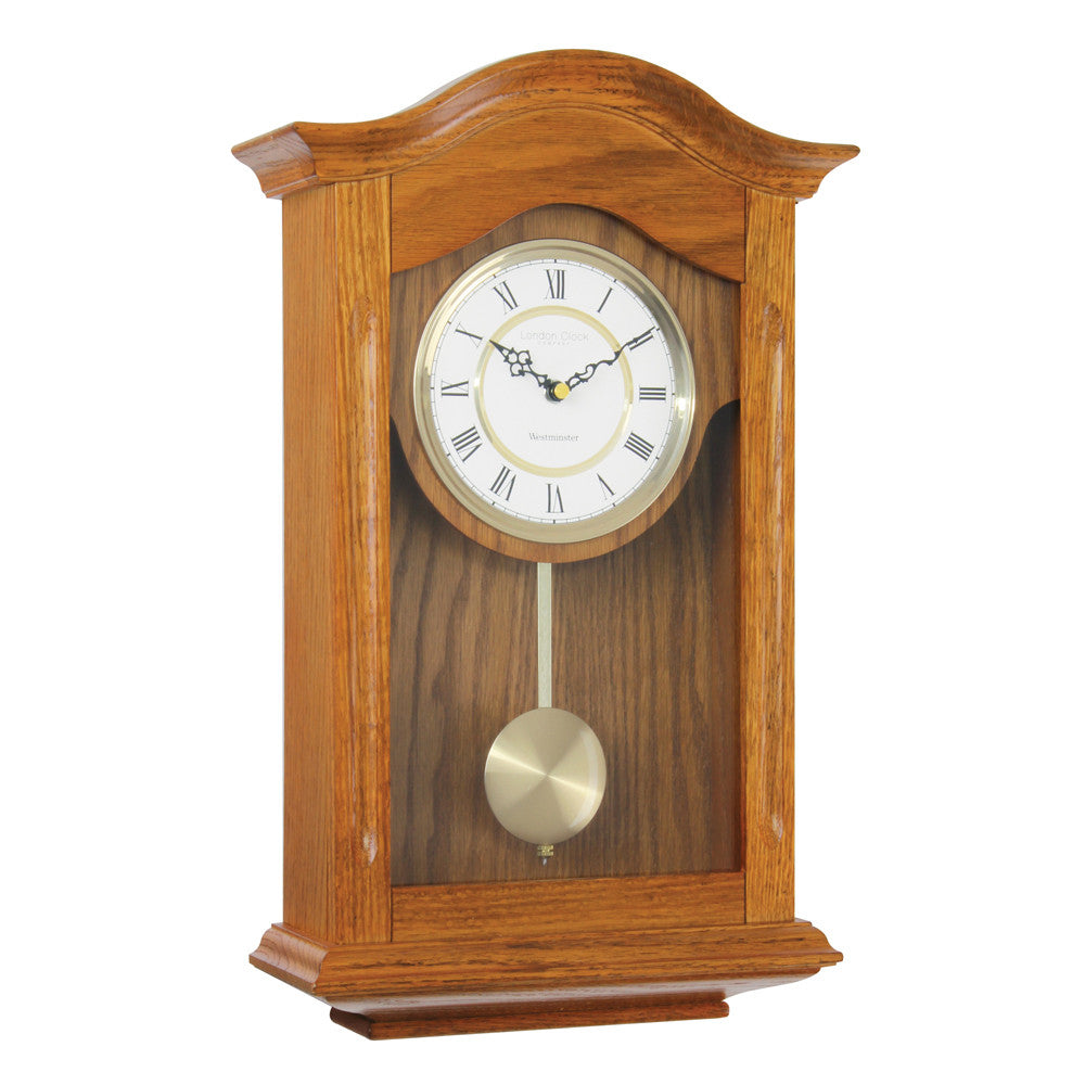 London Clock Co 47cm Light Wood Traditional Pendulum Wall Clock