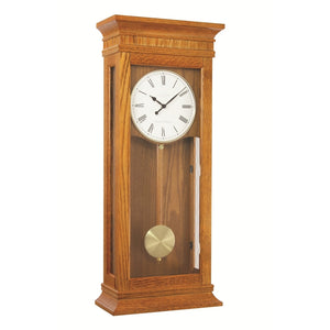 London Clock Co 69cm Tall Oak Finish Pendulum Wall Clock