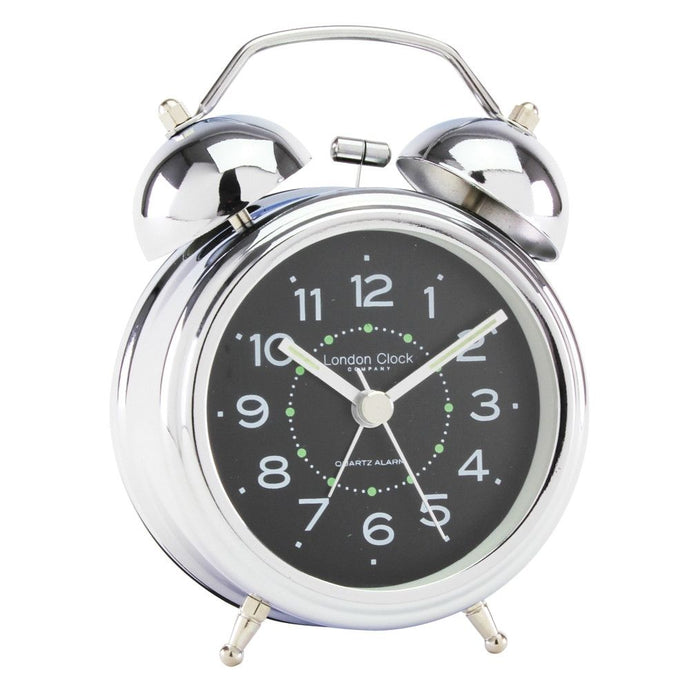 London Clock Co 12cm Black Dial Twin Bell Classic Alarm Clock