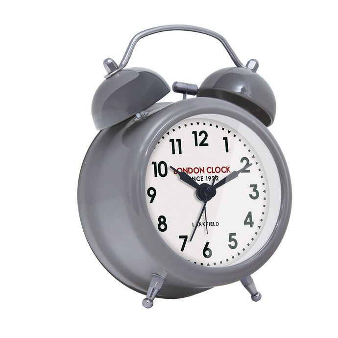 London Clock 1922 9cm Station Collection Belle Small Cool Grey Twin Bell Alarm Clock
