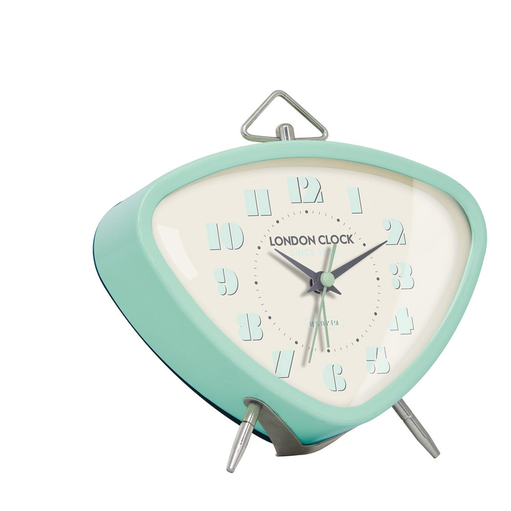 London Clock 1922 14cm Retro Collection Astro Mint Triangular Alarm Clock