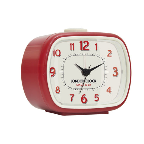 London Clock 1922 8cm Retro Collection Geo Red Rectangular Alarm Clock