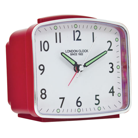 London Clock Co 6cm Red Rectangular Cased Alarm Clock