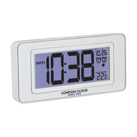 London Clock Co 7cm White Night Light Alarm Clock With Temp & Date