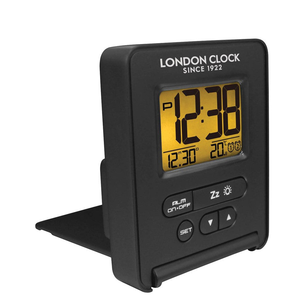 London Clock Co 8cm Black Digital Alarm Clock