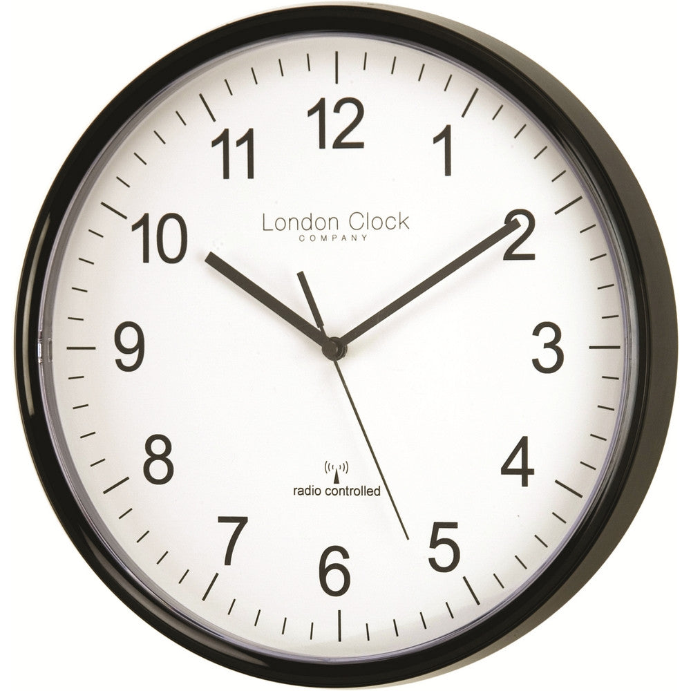 London Clock Co Black Radio Controlled Wall Clock