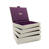 Stackers Set of 4 Cream & Purple Medium Stacker Jewellery Trays