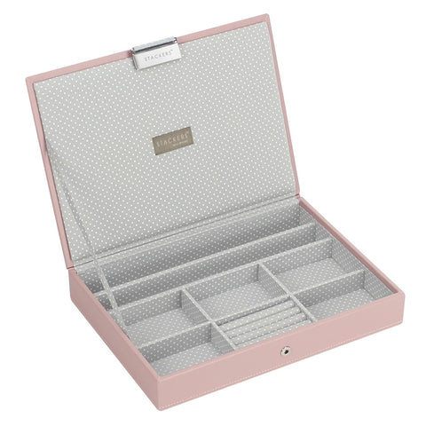 Stackers Soft Pink & Grey Spot Classic Lidded Jewellery Tray