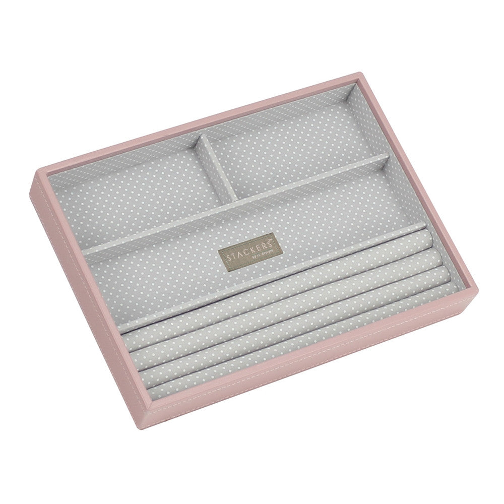 Stackers Soft Pink & Grey Spot Classic 4 Section Jewellery Tray