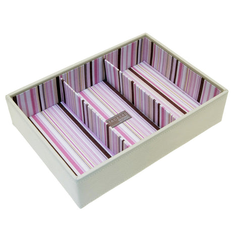 Stackers Medium Cream & Pink Stacker Jewellery Tray -3 Deep Sections