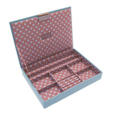 Stackers Medium Blue & Pink Polka Dot Top Stacker Jewellery Tray -Lid