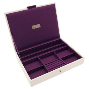 Stackers Cream & Purple Classic Lidded Jewellery Tray